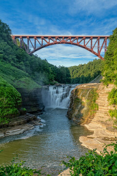 Upper Falls Arched Bridge At Letchworth State Pa