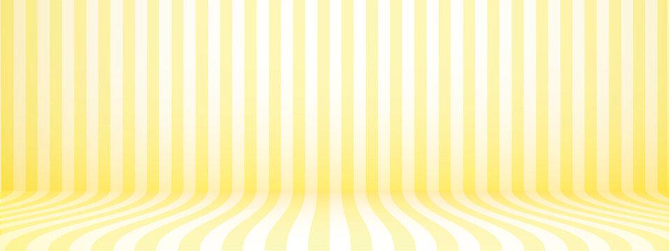 Yellow studio background with stripes, horizontal, retro style, vector illustration.