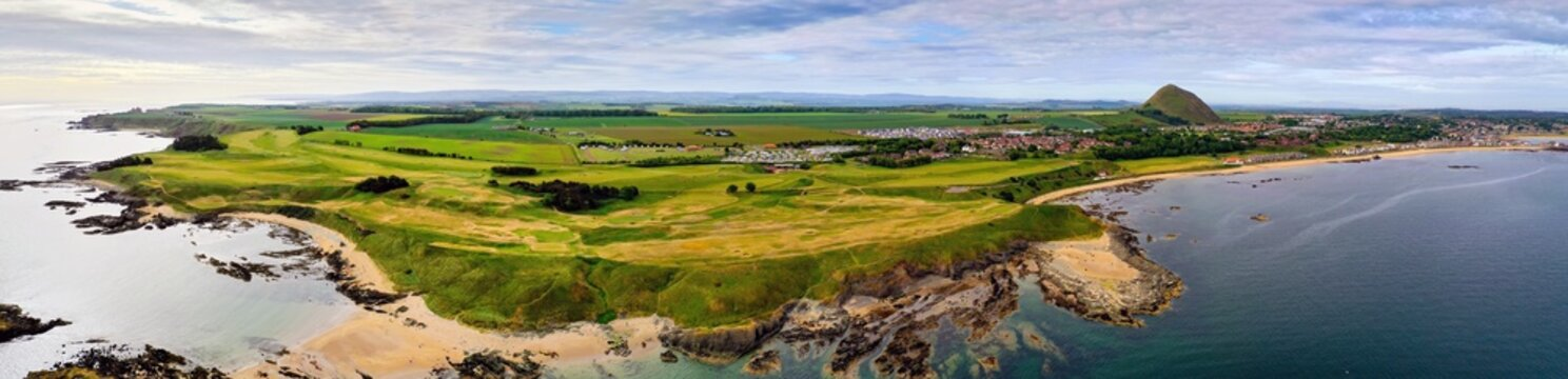 Aerial panorama of a golf course at North Berwick, East Lothian, Scotland, UK