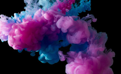 Colorful paint smoke on abstract black background
