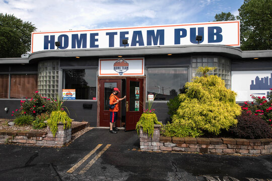 The exterior of the Home Team Pub which has recently introduced strict social distancing rules after reopening from coronavirus disease (COVID-19) restrictions in the Syracuse suburb of Liverpool, New York,