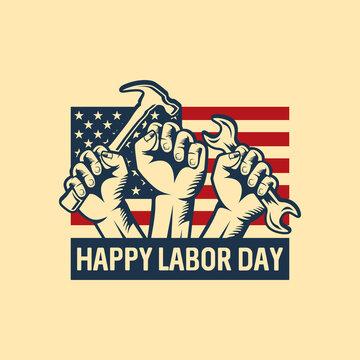 Labor day logo background design vector