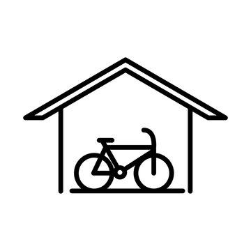 parking bike inside garage transport line style icon design