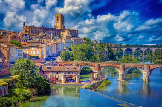 The medieval city of Albi, in the Tarn region of South West France