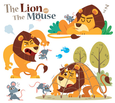 Vector Illustration of Cartoon The Lion and the Mouse. Aesop fairy fable tale