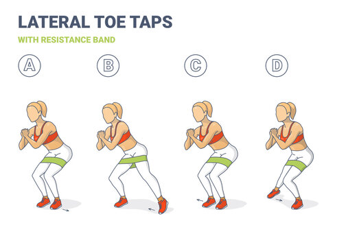Lateral Toe Taps with Resistance Band Girl Silhouettes. Side Toe Steps with Mini-band Home Workout Exercise Sequentially