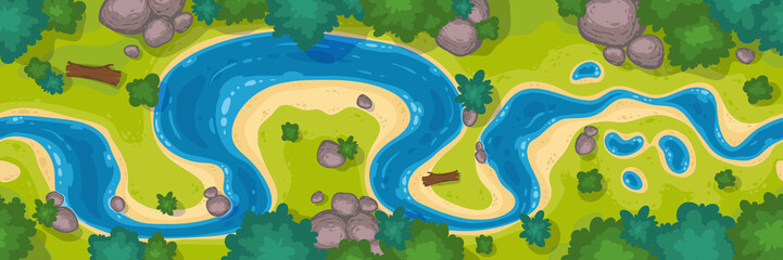 River top view, cartoon curve riverbed with blue water, coastline with rocks, trees and green grass. Summer nature landscape, beautiful valley, scenic picturesque natural stream, vector illustration