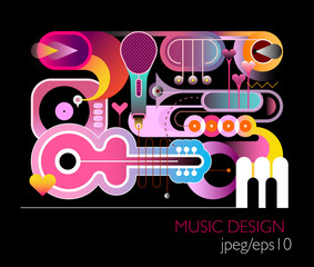 Music design vector illustration. Gradient effect colored composition of different musical instruments isolated on a black background.
