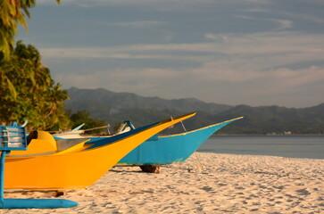Traditional boats detail. White beach. Boracay island. Western Visayas. Philippines