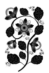 Vintage Botanical Illustration. Flower on a stalk with leaves and buds. Black and white silhouette