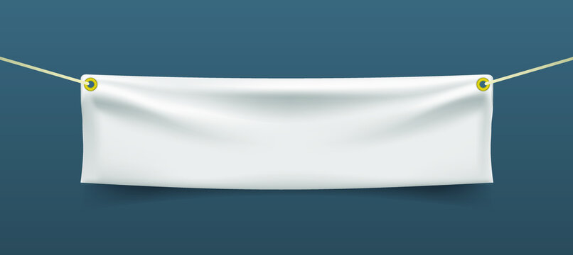 Realistic Textile Banner with Folds . Isolated Vector Elements
