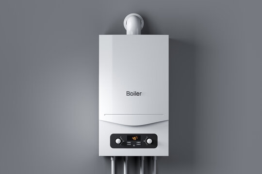 Gas water boiler on wall. 3d render