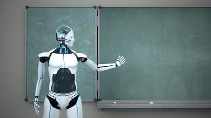 Humanoid Robot Chalk Board Teacher