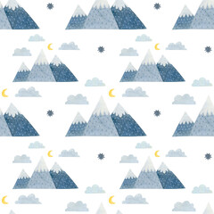 Winter watercolor seamless pattern of mountains, clouds, moon in Scandinavian style.