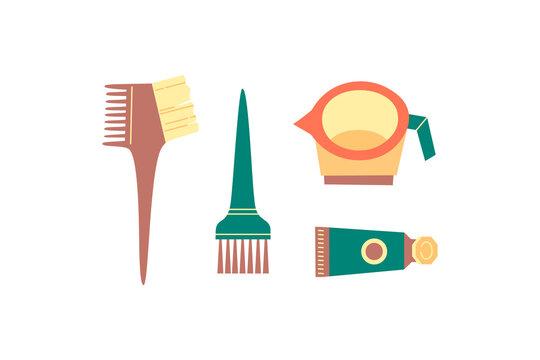 Dyeing, coloring set - brushes, mixing bowl, hair dye on white.