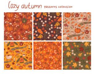 Set of 6 cozy autumn patterns. Vector graphics.