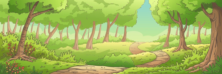 Summer forest landscape, panorama. Hand drawn vector illustration with separate layers.