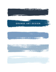 Photo sur Toile Les Textures Blue shades art brush paint texture stripes set isolated vector background. Grunge colorful strokes set.