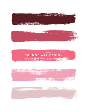 Pink shades art brush paint texture stripes set isolated vector background. Watercolor beautiful strokes set.