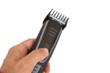 Male Hand Holding Hair Trimmer, Isolated On White Background