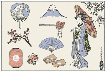 Set of Japan design elements. Geisha Woman Illustration. Hand drawn vector illustration.