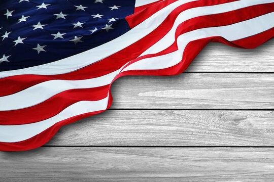 American Flag on woodbackground