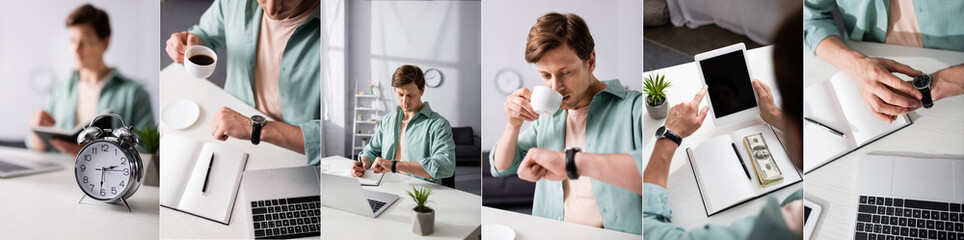 Collage of freelancer drinking coffee and checking time near digital devices and money on table,...