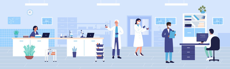 Hospital clinic laboratory work flat vector illustration. Cartoon doctor researcher character team working and studying in medical research diagnostic center. Healthcare medicine lab office background