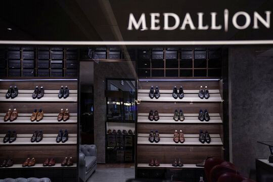 Men's leather shoes are displayed at the Medallion store, following the coronavirus disease (COVID-19) outbreak, in Beijing