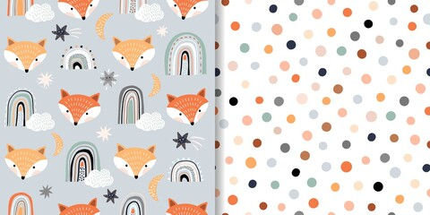 Lamas personalizadas con tu foto Seamless patterns set with animals and stars, baby decorations