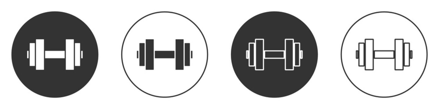 Black Dumbbell icon isolated on white background. Muscle lifting icon, fitness barbell, gym, sports equipment, exercise bumbbell. Circle button. Vector.