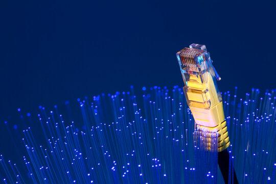 Fibre optic strands with a ethernet lan broadband cable, FTTP full fibre broadband concept
