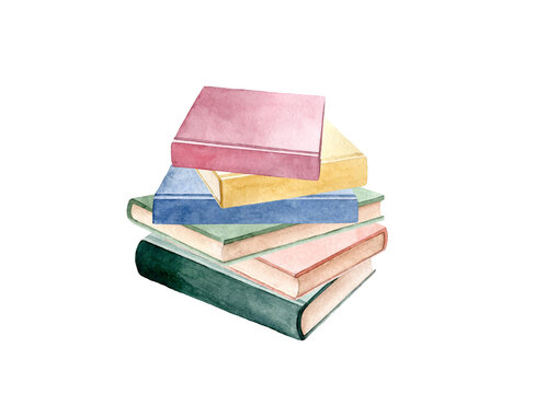 Hand drawn watercolor illustration of  stack of books. Education Reading Back to School concept. Isolated objects on white background.