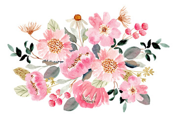 pink green floral bouquet watercolor background