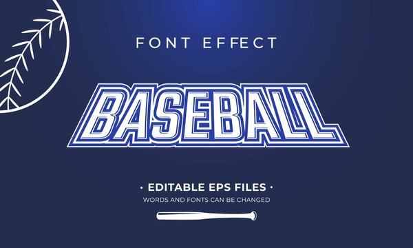 Baseball font effect. Font effect for sport team. Easy to change text and font.