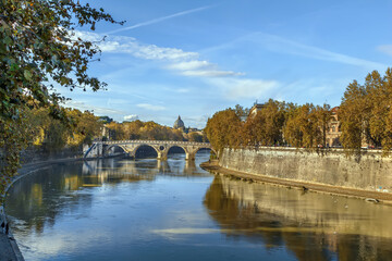 View of the Tiber river in Rome, Italy