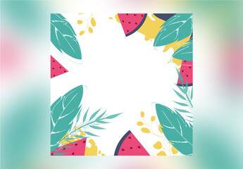 Summer Banner Layout with Text Green Leaves and Watermelon Slices