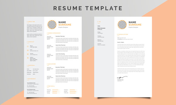 Professional Resume/CV Template with Cover Letter Design