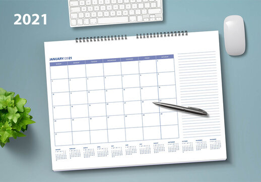 2021 Monthly Desk Planner Layout