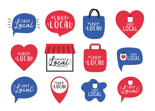 shop local icon set design of retail buy and market theme Vector illustration