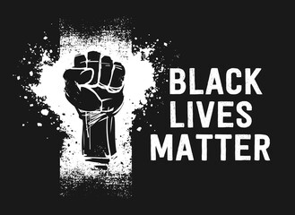 Black Lives Matter sign,  banner, sticker, flag, symbol, logo. Raised fist as a symbol of resistance.