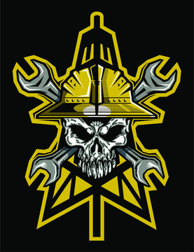 oilfield roughneck skull logo design with hard hat, oil rig and crossed wrenches