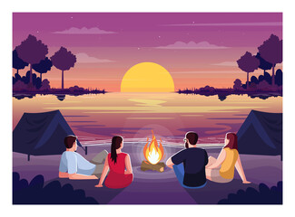 Beach camping night semi flat vector illustration. People lounge together and watch sunset over sea. Bonfire and tents for weekend rest. Friends 2D cartoon characters for commercial use