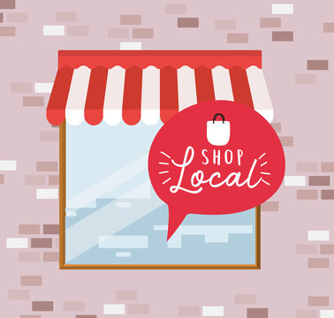 shop local in bubble inside store design of retail buy and market theme Vector illustration