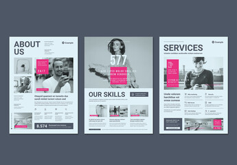 Business Flyer Layout in Light Gray with Pink Accents