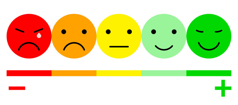 Five Color Faces Feedback/Mood. Set five faces scale - smile neutral sad - isolated vector illustration for your web site design, logo, app, UI. EPS10
