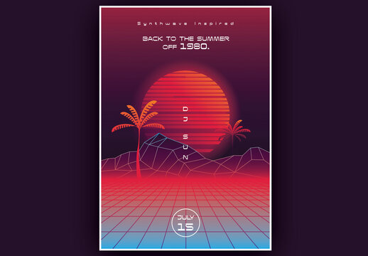 Synthwave Summer Poster Layout with Sunset and Palm Trees