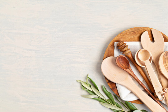 Traditional wooden kitchen utensils abd kitchenware mock up. Home cooking, recipe book template. Top view, copy space
