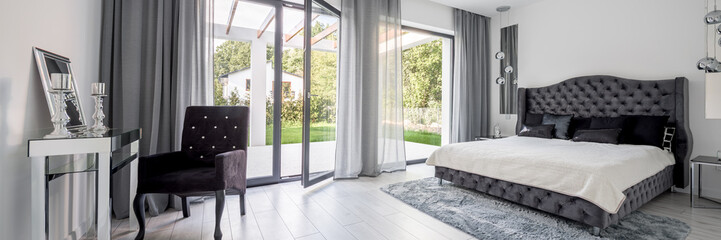Glamour style bedroom, panorama