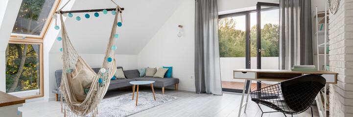 Attic living room with hammock, panorama